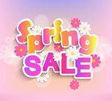 Spring sale label, 50 percent discount.