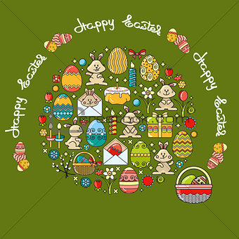 Greeting card with Easter icon and handwritten word Happy Easter