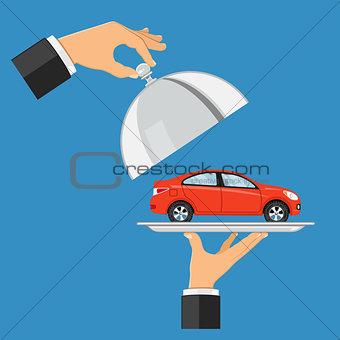 car on tray