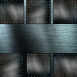 Brushed metal background with grunge metallic plates