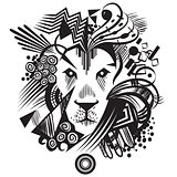 Black abstract lion with geometric shapes