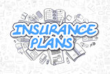 Insurance Plans - Cartoon Blue Text. Business Concept.