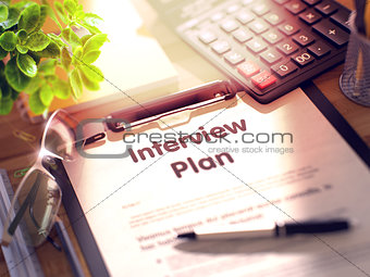 Clipboard with Interview Plan Concept. 3D.