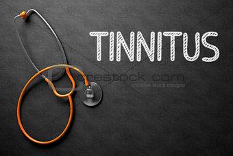 Tinnitus on Chalkboard. 3D Illustration.