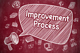 Improvement Process - Doodle Illustration on Red Chalkboard.