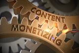 Content Monetizing on the Golden Cogwheels. 3D Illustration.