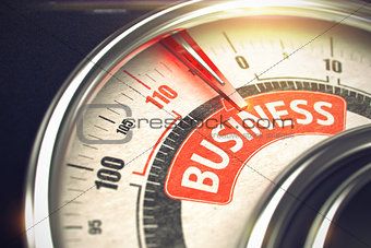 Business - Message on Conceptual Dial with Red Needle. 3D.