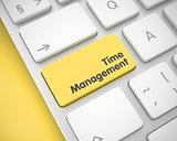 Time Management - Text on Yellow Keyboard Button. 3D.
