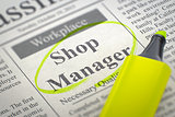 Shop Manager Job Vacancy. 3D.