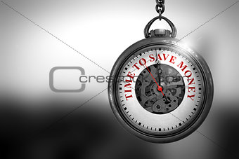 Time To Save Money on Pocket Watch Face. 3D Illustration.