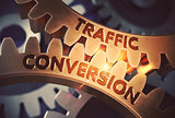 Traffic Conversion on Golden Cog Gears. 3D Illustration.