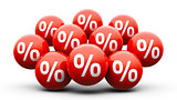 Red balls with percent - super sale