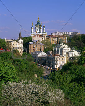 Andriyivskyy Descent with the Saint Andrew's Church at springtim