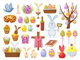 Big Collection of Happy Easter Objects. Flat Design Vector Illustration. Set of Spring Religious Christian Colorful Items.