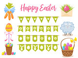 Easter party decoration vector elements. Eggs garland ,lamb, basket with eggs, carrots bouquet, letter with easter congratulation and egg tree isolated on white background.