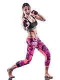 woman fitness boxing pilates excercises isolated