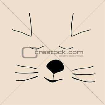 Kitty sleep cute funny cartoon cat head