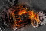 Gears mechanism system problem. 3D Rendering