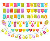 Easter party decoration vector elements. Eggs garland ,tags,and egg tree isolated on white background.