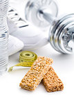 muesli bar and sport equipment