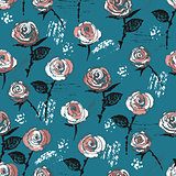 Seamless pattern with ink hand drawn vintage styled roses