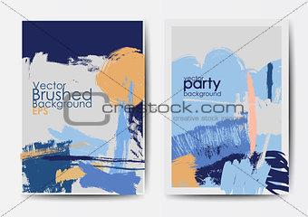 Grunge brushed vector postcards template