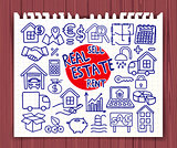 Doodle Real Estate icons set