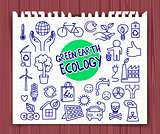 Green Earth Ecology doodle set