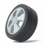 Car black new wheel, isolated