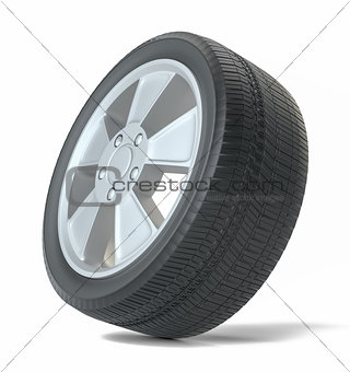 Car black new wheel, isolated
