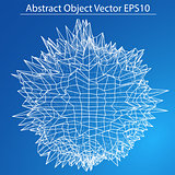 Abstract distorted sphere. Wireframe style