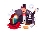 Magician in cylinder and cloak