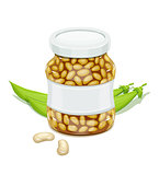 Glass jar with Bean and pods
