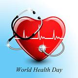 Stethoscope medical equipment, heart shape.