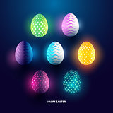 A set of glowing abstract easter egg holiday design