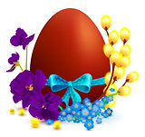 Easter holiday symbols colored egg, branch of willow, blue bow, flower of violet