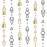 Seamless hand drawn geometric tribal pattern with rhombuses, triangles, squares and circles. Vector aztec design.