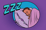 Retro man sleeping in bed