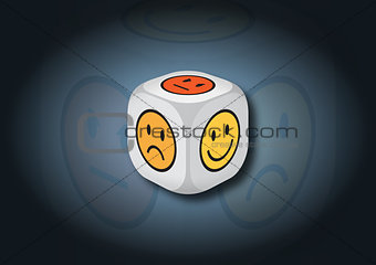 A 3D illustration of a dice with emotion symbols