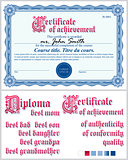 Blue certificate. Guilloche.Template. Horizontal.