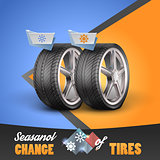 Replacement tires for the sesanol specified on label wheel. Vector illustration