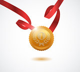 Gold medal for first place. Vector illustration.
