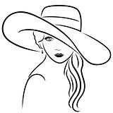 Attractive women in wide-brimmed hat