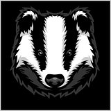Badger Head black and white