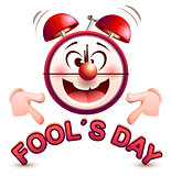 Fools day time. Fun clock show lettering text