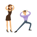 Couple Dancing Modern Dances On The Dancefloor, Part Of People At The Night Club Series Of Vector Illustrations