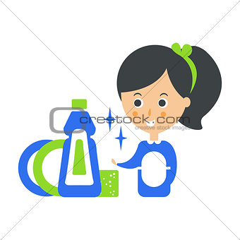 Cleanup Service Maid And Clean Dishes, Cleaning Company Infographic Illustration