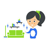 Cleanup Service Maid And Clean Living Room, Cleaning Company Infographic Illustration