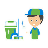 Cleanup Service Worker And Clean Floor, Cleaning Company Infographic Illustration