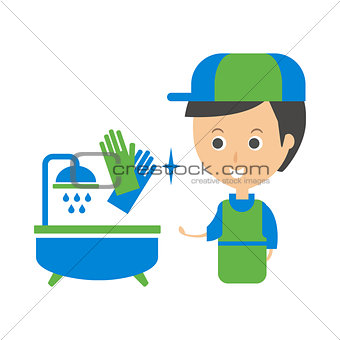 Cleanup Service Worker And Clean Bathroom Tub, Cleaning Company Infographic Illustration